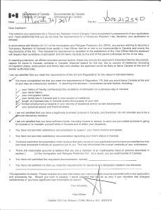 Margo's Visa Denial Form Letter