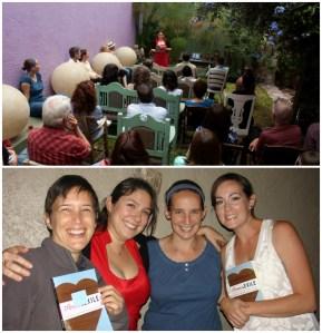 Top: Nicole at La Casa del Atrio reading, Querétaro, México; Nicole and friends of A&E at the Querétaro reading