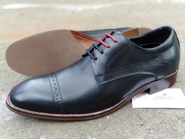 Black red laced suit shoe