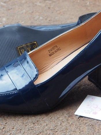 Navy Blue Wetlook Block Heel