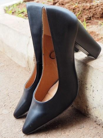 Pointed Black Blocked Heel