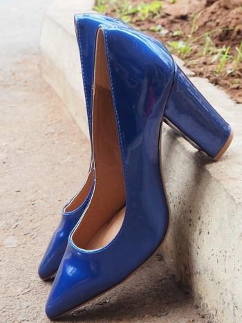 Royal Blue Pointed Block Heel