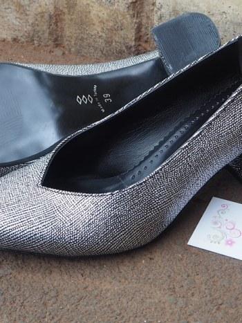 Silver block heel