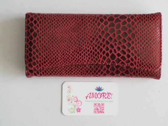 Burgundy Snake Skin Leather Wallet