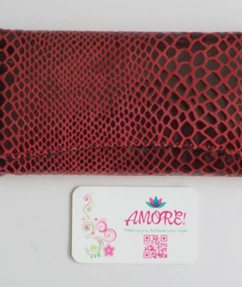 Burgundy Snake Skin Leather Wallet
