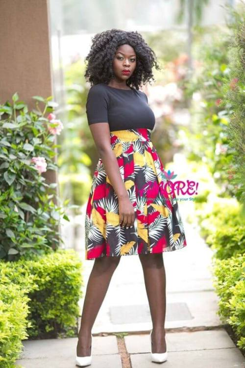 Black Everrich floral skater dress