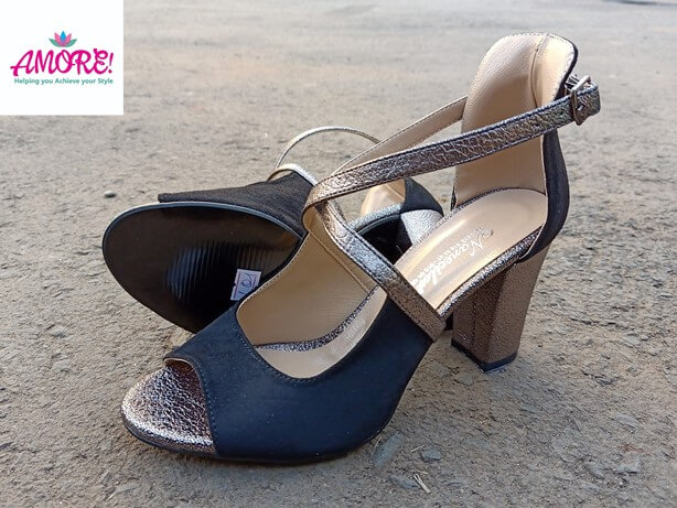COPPER AND BLACK CHUNKY HEEL