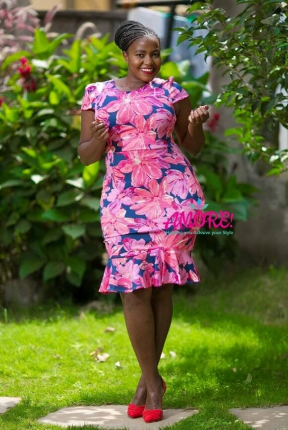 Pink and blue floral body con