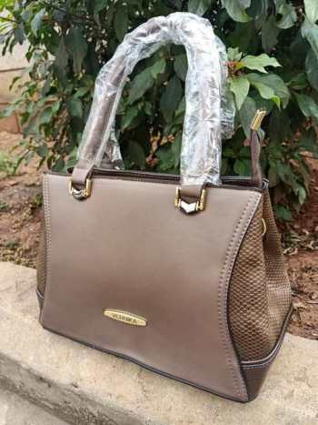 Brown side croco bag