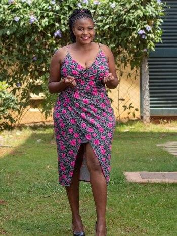 Floral pink front slit dress