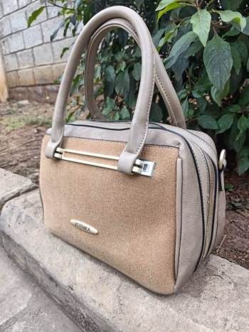 Khaki brown suede bag