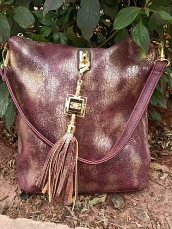 Maroon side zip bag