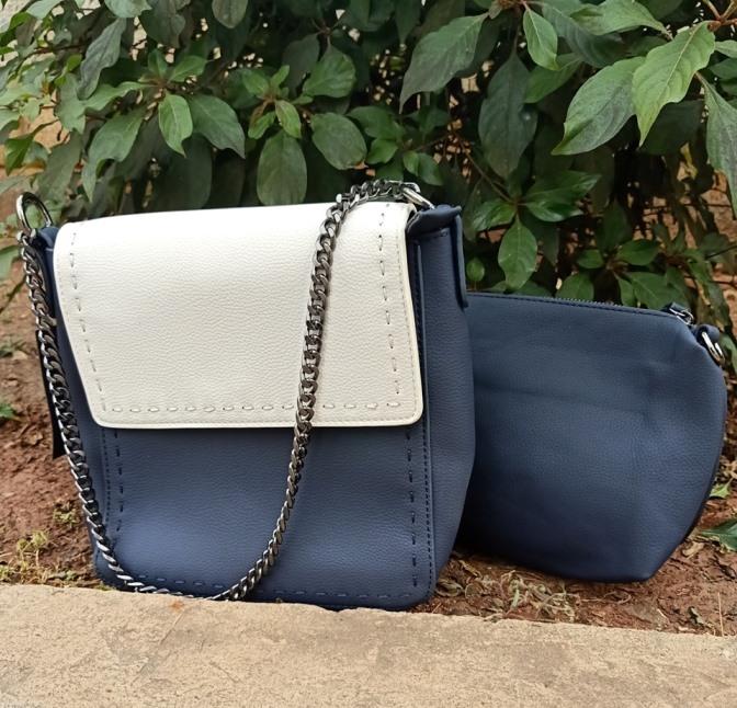 Navy blue grey sling