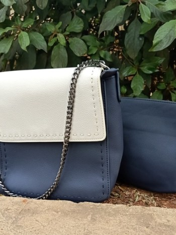 Navy blue grey sling