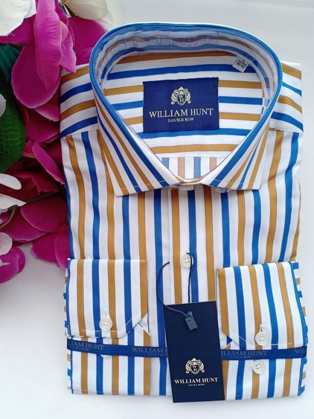 Blue yellow striped shirt