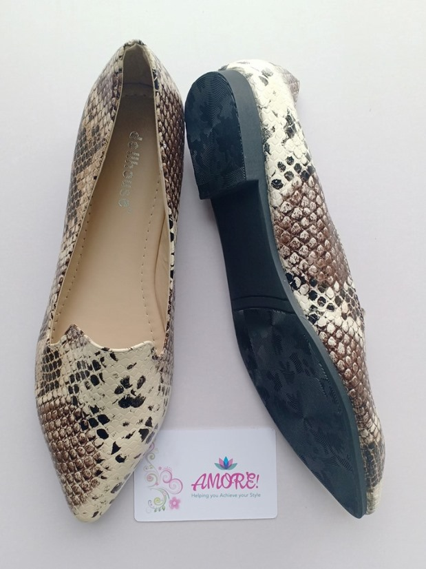 Brown animal print doll shoe