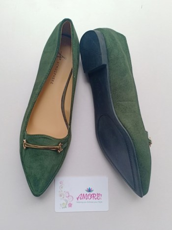 Jungle green suede doll shoe