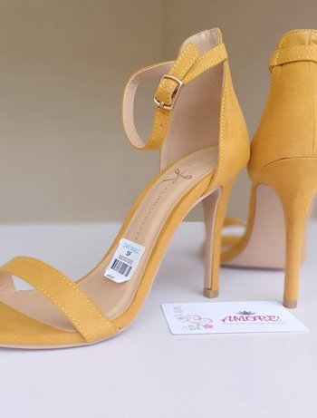 Mustard strappy sandal heel