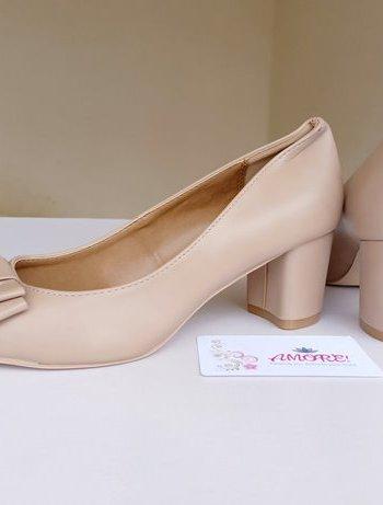 Nude bow matte chunky heel