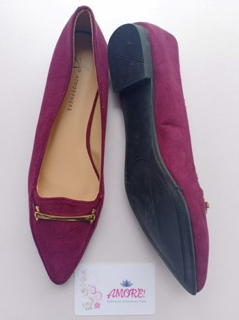 Purple suede doll shoe