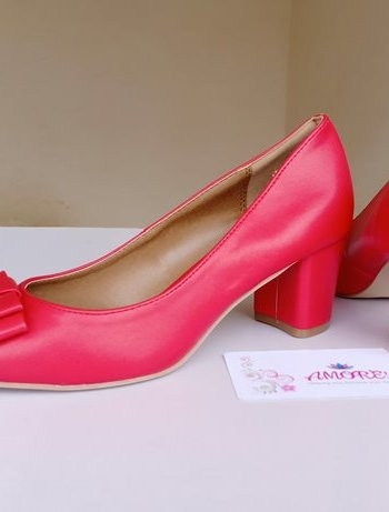 Red bow matte chunky heel