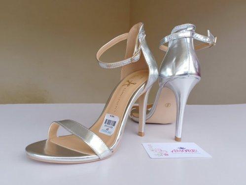 Silver strappy sandal heel
