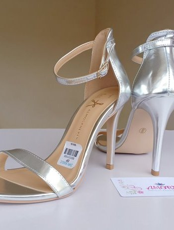 Silver strappy sandal heel