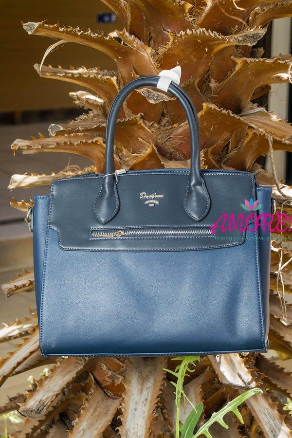 Blue front zip bag