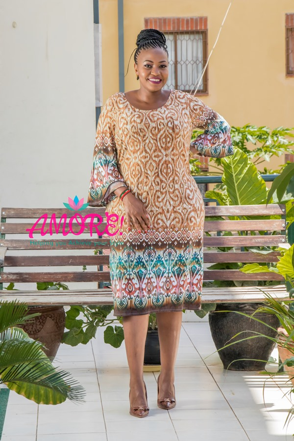 Floral brown sheath dress