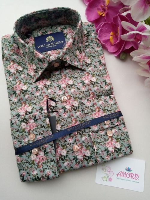 Green pink floral shirt