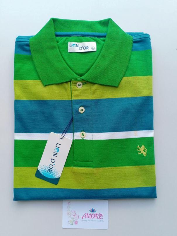 Green yellow striped polo tshirt