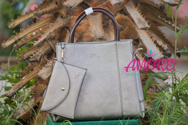 Grey bag with brown sides
