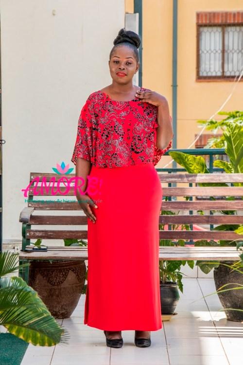 Red glitter chiffon overflap dress