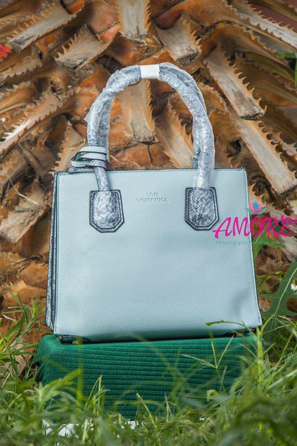 Sky blue animal print strap bag