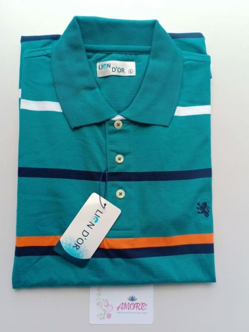 Turquiose striped polo tshirt