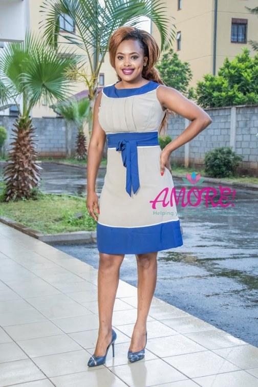 Blue cream chiffon dress