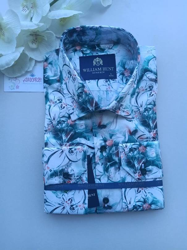 Floral white green and red shirt