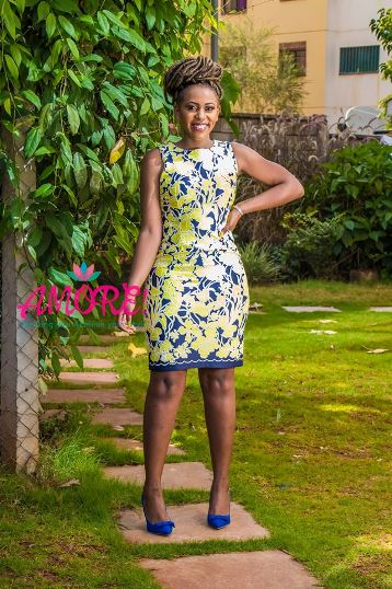 Floral yellow and navy blue bodycon