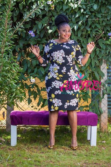 Black floral side barn dress