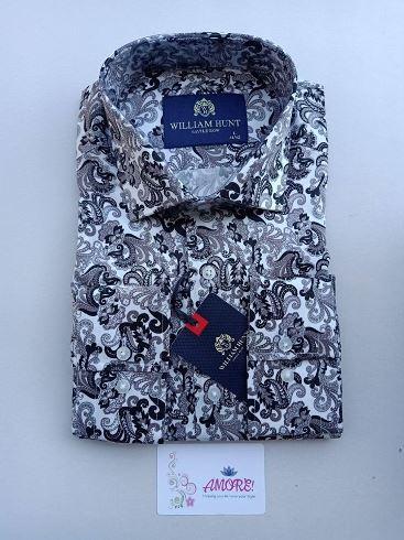 Black grey floral shirt