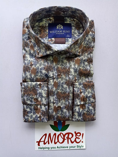 Cream and brown floral shirt