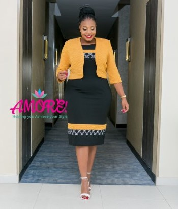Mustard yellow and black dress suit