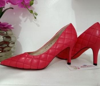 Red diagonal print kitten heel