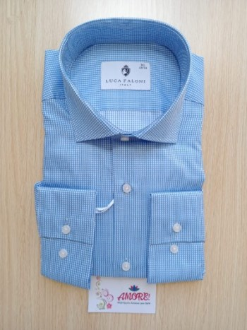 Small checked white and blue shirt