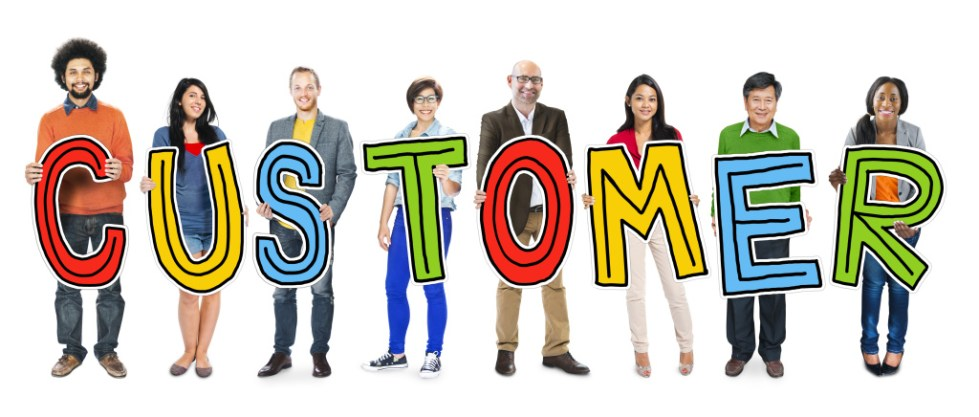 Group of People Standing Holding Customer