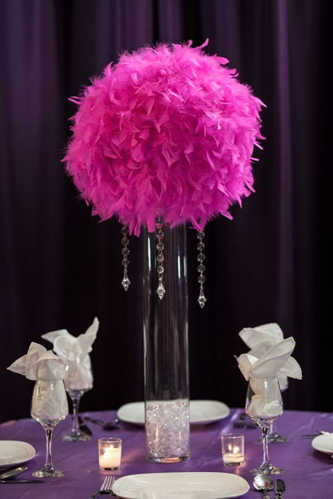 Feather ball centerpiece rental weddings sweet new