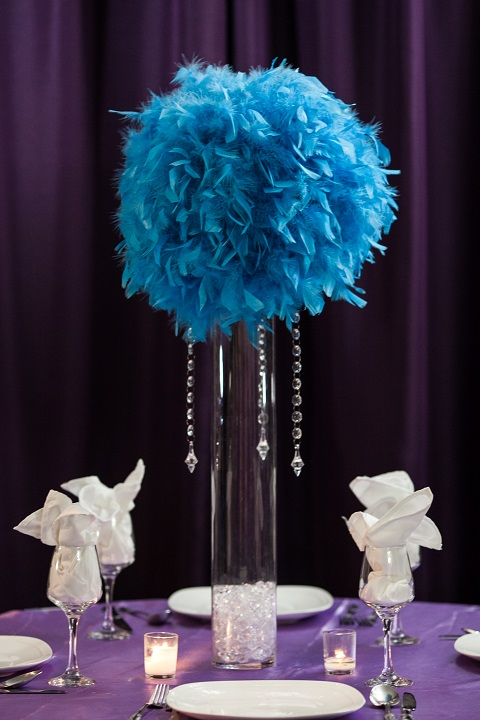 Feather Centerpieces Rental : Feather ball centerpiece rental weddings sweet new