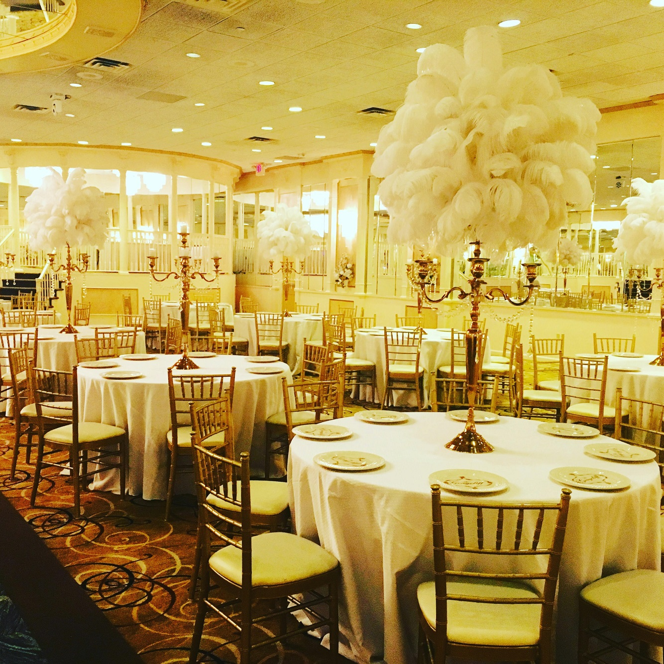 Feather Centerpieces For Rent : Ostrich feather centerpiece rental weddings sweet