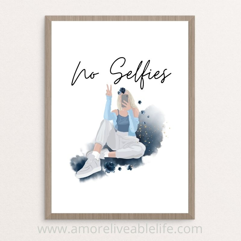 No Selfies Printable Perfect for Bathroom Wall Art