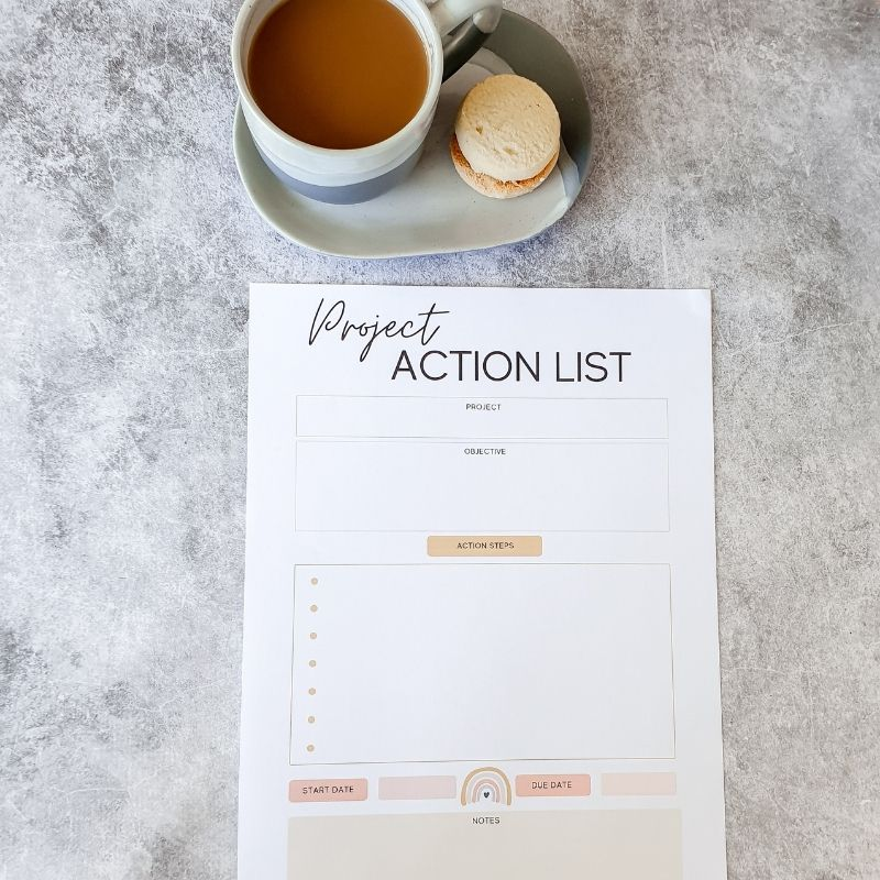 Project Action List Printable Small Project Management